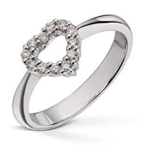 Hjertering med diamanter