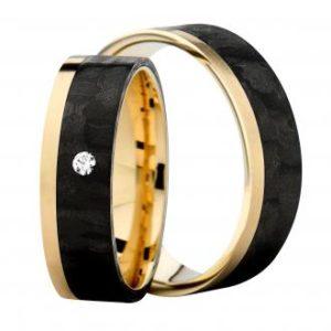 Forlovelsesring/giftering i carbon og gult gull eller carbon og sølv