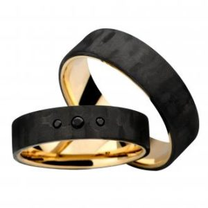 Forlovelsesring/giftering i carbon og gult gull