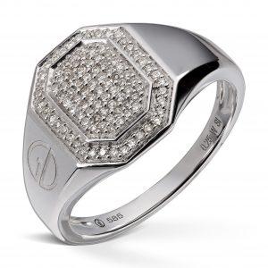 Ring i hvitt gull med 100 diamanter,totalt 0,25ct.