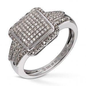 Ring i hvitt gull med 100 diamanter,totalt 0,30ct.