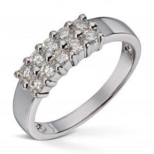 Dobbel rekkering i hvitt gull med 0,50ct diamanter