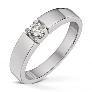 Alliansering i hvitt gull 0,30ct diamanter