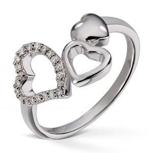 Hjertering hvitt gull med 0,15ct diamanter